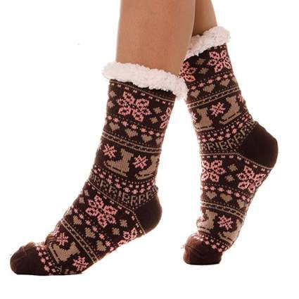 fuzzy christmas socks with sleds