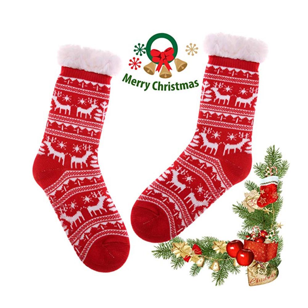iwobi Winter Slipper Socks,Soft Fuzzy Cotton Knitted Sock Non Slip Fleece Lined Slipper Socks,Indoor Christmas Socks Xmas Gift for Women Ladies Girls