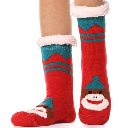 fuzzy christmas socks with monkeys