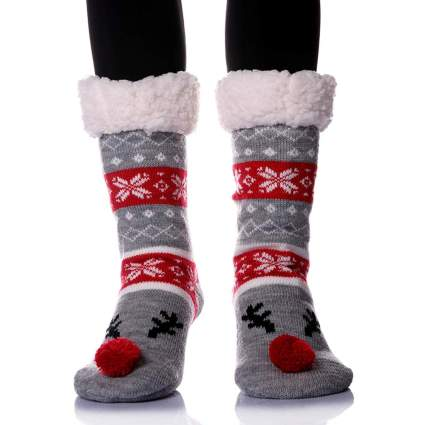 Fuzzy christmas socks with Rudolph