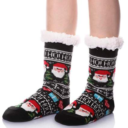 fuzzy christmas socks with santa