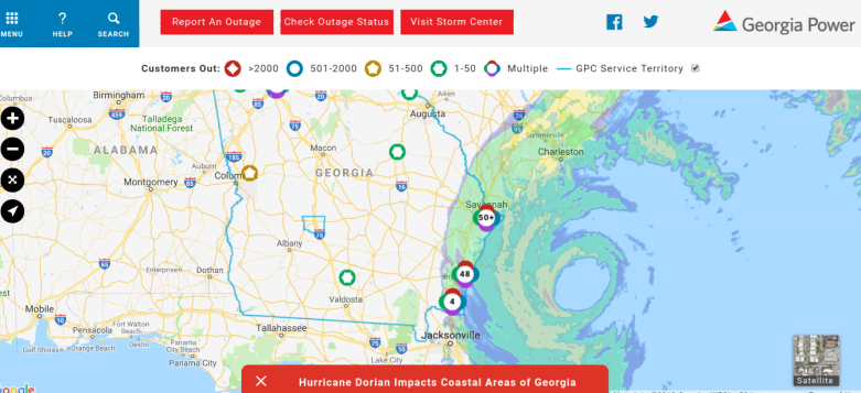 Georgia Hurricane Dorian Power Outages Maps Heavy Com