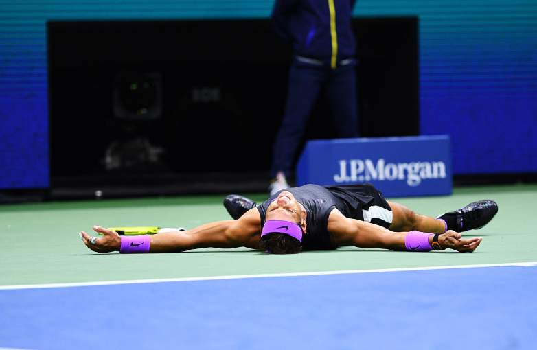 Rafael Nadal reacts after winning the 2019 U.S. Open Final in a five-set thriller.