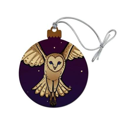 graphics and more snowy owl wooden christmas ornament