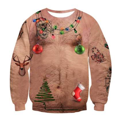 hairy funny christmas sweater