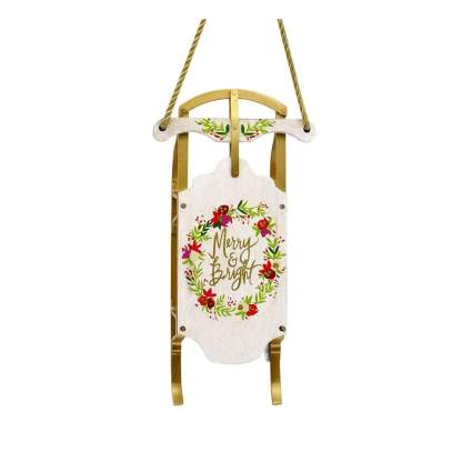 hallmark merry and bright sled wooden christmas ornament