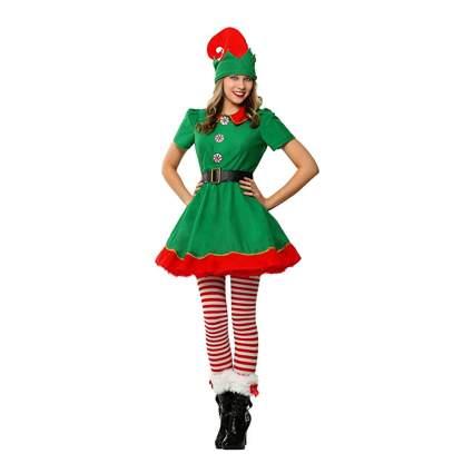 green elf dress and hat set
