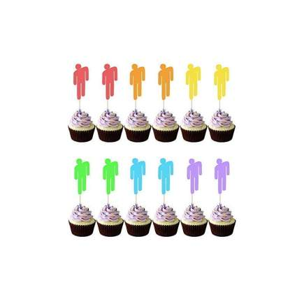 JXpartyUSA 12pcs Billie Eilish Cupcake Toppers Cake Topper Decoration Party Supplies