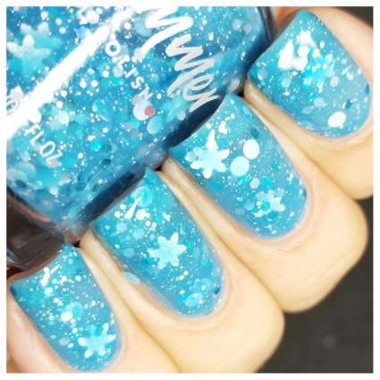 Light blue nail polish with snowflake glitter