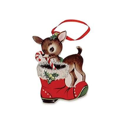 largemouth retro reindeer wooden christmas ornament