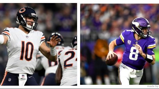 Mitch Trubisky Kirk Cousins Vikings Bears predictions odds over under