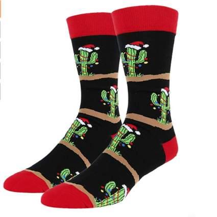 mens crazy Christmas socks with cactus