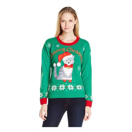 meowy christmas cat sweater