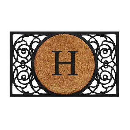 monogrammed coir and rubber door mat