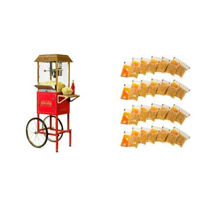 Nostalgia Vintage Commercial Popcorn Cart with 24 Popcorn Packs