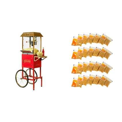 Nostalgia Vintage Commercial Popcorn Cart with 24 Popcorn Packs