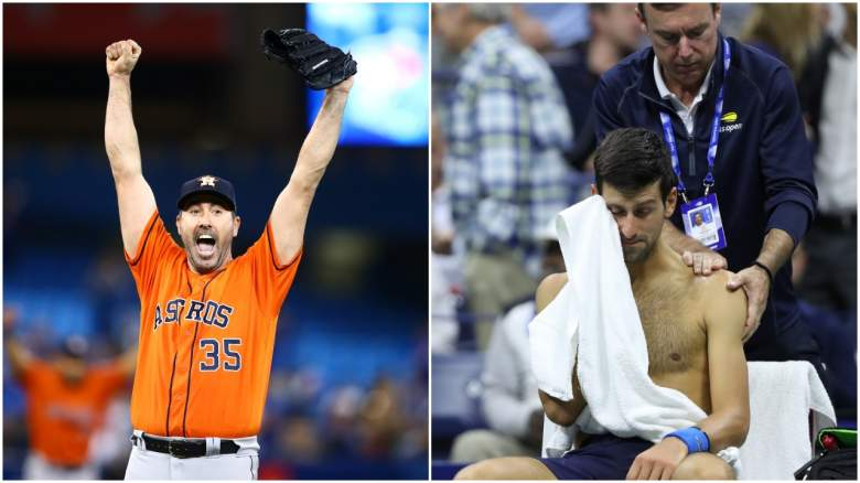 Justin Verlander threw his third career no-hitter and Novak Djokovic retired from his match at the U.S. Open due to a shoulder injury.