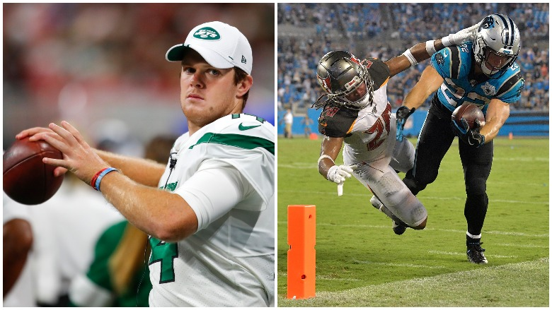 Jets QB Sam Darnold is out indefinitely after being diagnosed with mono and the Bucs got a huge defensive stop to beat the Panthers.