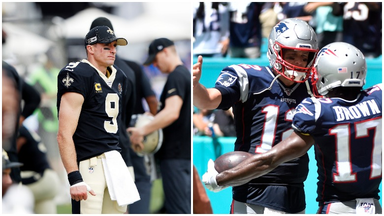 Drew Brees' injured thumb knocked him out of Sunday's game and Antonio Brown caught a TD in his Patriots debut.