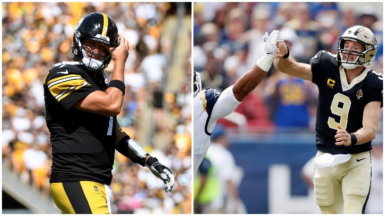 Ben Roethlisberger and Drew Brees both left Sunday's games with injuries.