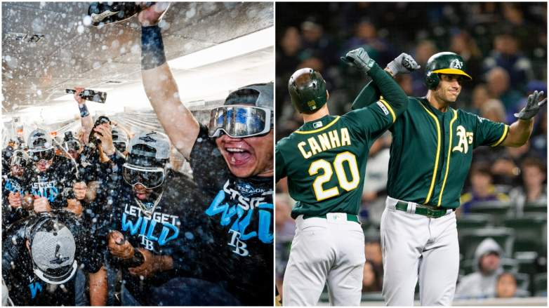 The Rays and A's clinched Wild Card spots on Friday night.