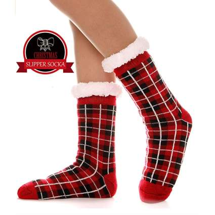 plaid fuzzy christmas socks