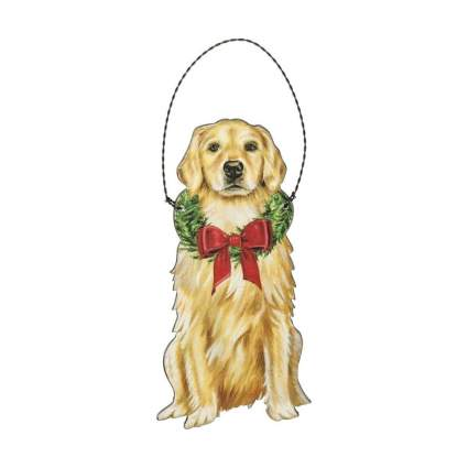 primatives by kathy golden retriever wooden christmas ornament