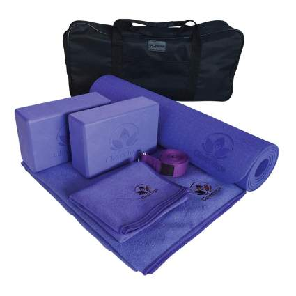 purple yoga mat and towel set