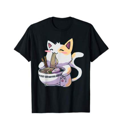 ramen gifts T-shirt with happy cat