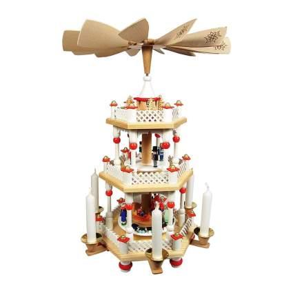 richard glaesser three tier santa and children christmas pyramid