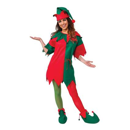 red and green elf dress and booties