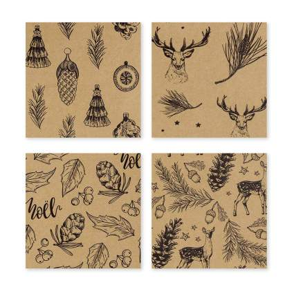 Rustic brown paper with pinecones and deer