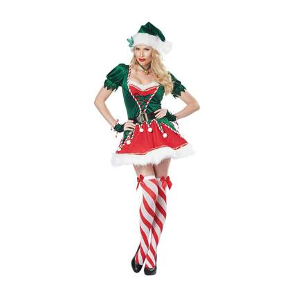 green and red elf dress