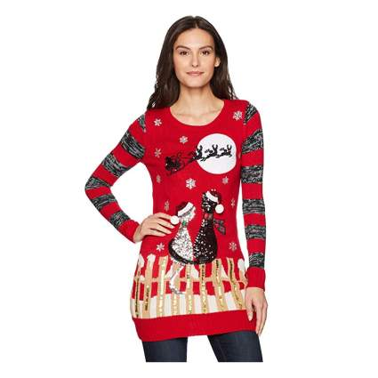 sequined cats christmas sweater