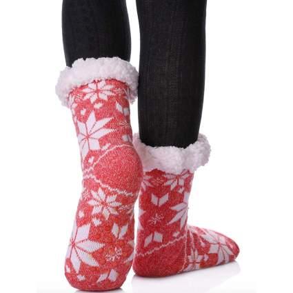 snowflake pink fuzzy christmas socks