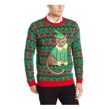 ugly elf cat christmas sweater