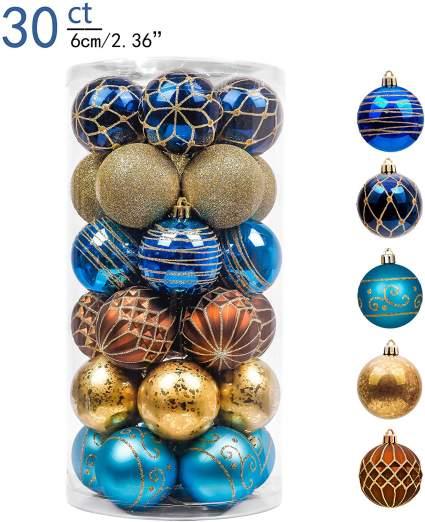 Blue gold and bonze ornaments