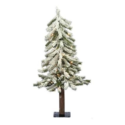 Alpine style flocked Christmas tree