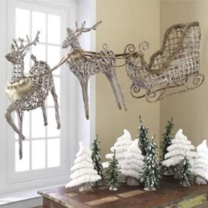 wicker sleigh commercial christmas decorations