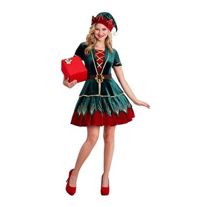 red and green velvet elft dress and hat