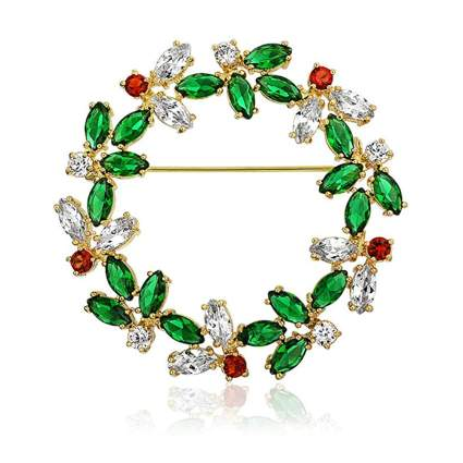 14k gold plated christmas wreath brooch