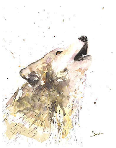 Watercolor Howling Wolf Print