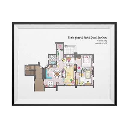 Monica Geller and Rachel Green Apartment Floor Plan Poster