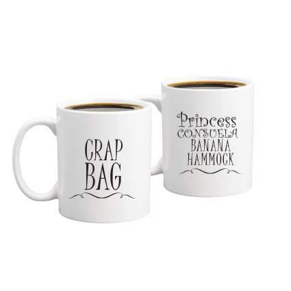 Princess Consuela Banana Hammock & Crap Bag Couples Funny Coffee Mug Set