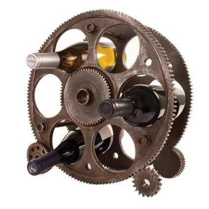 Foster & Rye 2755 Gears And Wheels Wine Rack, Copper