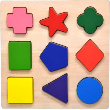 Wooden Preschool Colorful Shape Puzzle