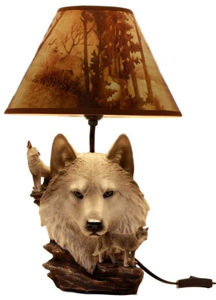 Gray Wolf Akela Desktop Table Lamp with Shade