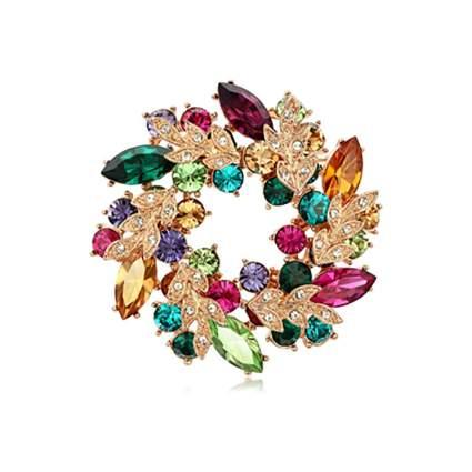 rose gold plated crystal circle brooch