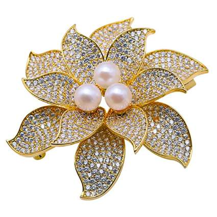 Pearl and crystal flower brooch