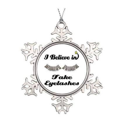 Snowflake ornament with eyelashes